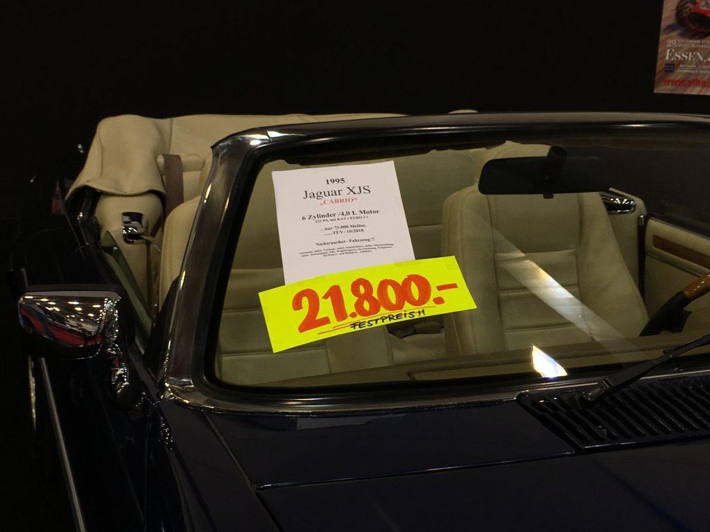 Übliche Preise auch auf der Messe: Ein gut erhaltener XJS aus den USA zum Festpreis von 21.800 Euro